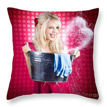 60s Retro Cleaning Lady With Metal Water Bucket Throw Pillow