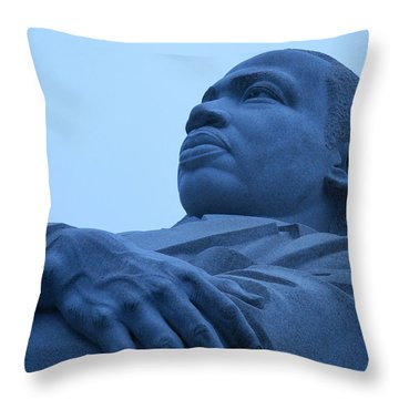 Throw Pillow featuring the photograph A Blue Martin Luther King - 1 by Cora Wandel