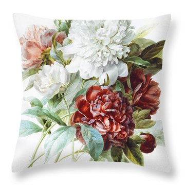 A Bouquet Of Red Pink And White Peonies Throw Pillow