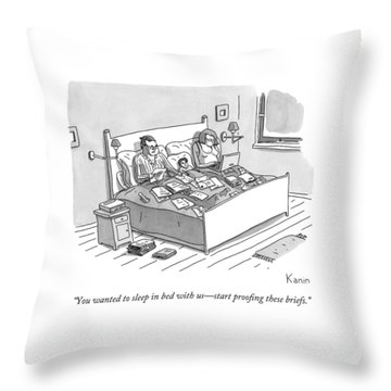 A Boy Lays In Bed Between His Parents Throw Pillow