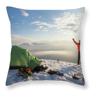 A Camper Lifts His Hand In The Air Throw Pillow