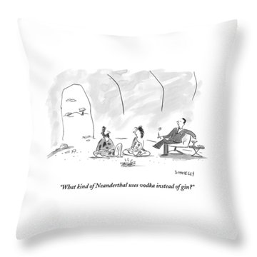 A Caveman And Cavewoman Sit On The Floor Throw Pillow
