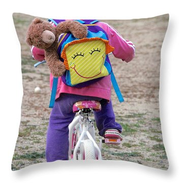 A Child's Adventure Throw Pillow by Suzanne Oesterling