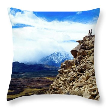 A Couple Stands On Top Of A Lava Butte Throw Pillow