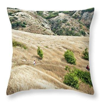 A Family Hikes Across Santa Cruz Island Throw Pillow
