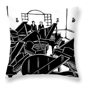 A Guy Talks To Another Guy In A Room Of Seven Throw Pillow