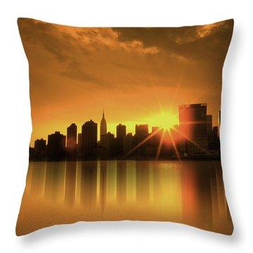 A Manhattan Sunset Throw Pillow by Nina Bradica