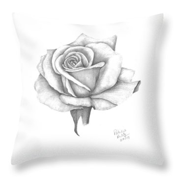 Throw Pillow featuring the drawing A Roses Beauty by Patricia Hiltz