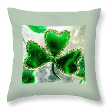 A Shamrock On Ice Throw Pillow