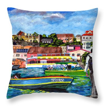 A Stroll On The Carenage Throw Pillow