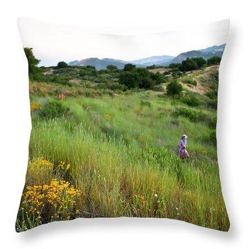 A Trail Runner Crosses Through Green Throw Pillow