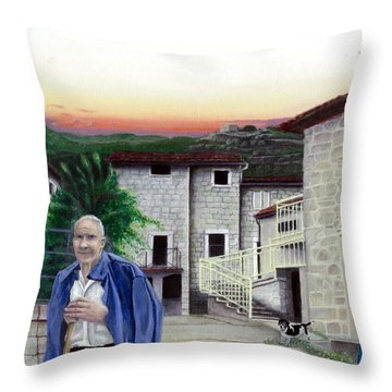 Throw Pillow featuring the painting A Walk With Dante by Albert Puskaric