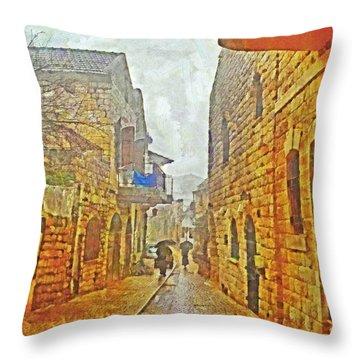 A Winter Morning In Haifa Throw Pillow