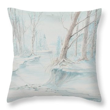 A Winter Path Throw Pillow