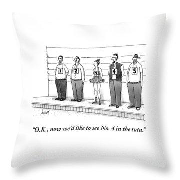 A Woman Wearing A Tutu Is Seen Standing Throw Pillow