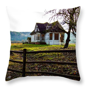 Abandon Farm House Throw Pillow by Ron Roberts
