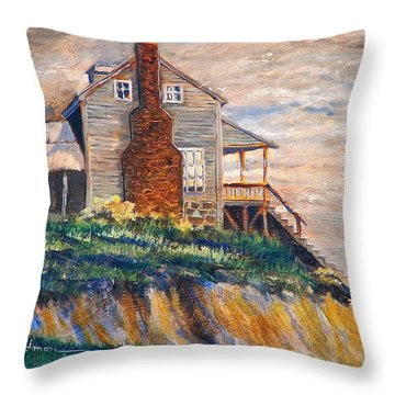 Throw Pillow featuring the painting Abandoned Beach House by Dan Redmon