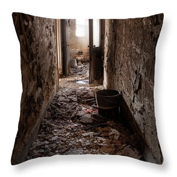 Abandoned Building - Hallway To Ladies Room Throw Pillow by Gary Heller