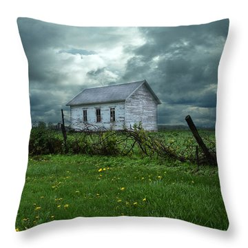 Abandoned Building In A Storm Throw Pillow by Jill Battaglia