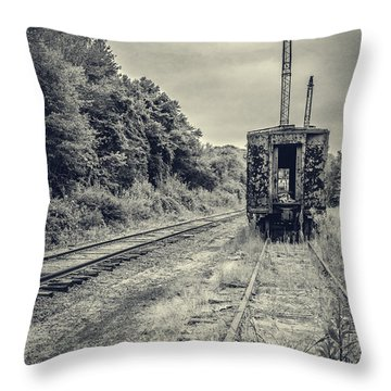 Abandoned Burnt Out Train Cars Throw Pillow