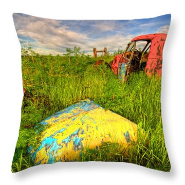 Abandoned Rusting Truck Throw Pillow