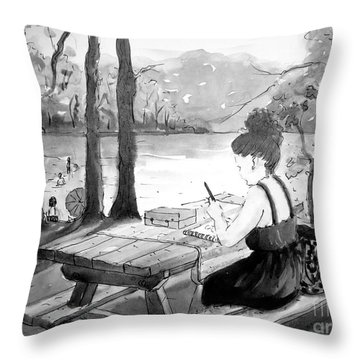 Throw Pillow featuring the painting Abbey Sketching by Gretchen Allen