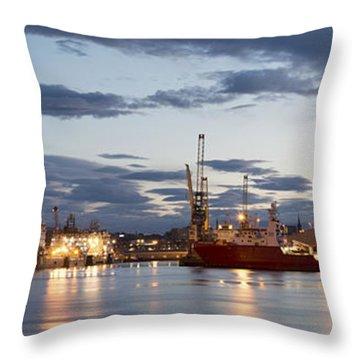 Aberdeen Harbour At Dusk Throw Pillow