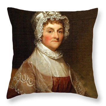 Throw Pillow featuring the photograph Abigail Smith Adams By Gilbert Stuart by Cora Wandel