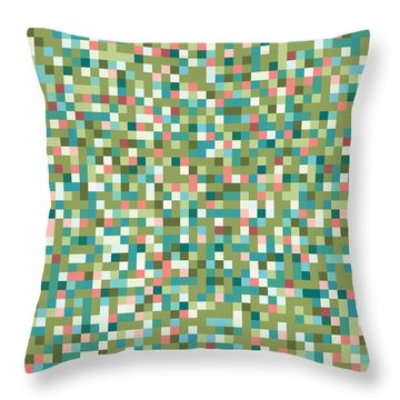Throw Pillow featuring the digital art Abstract Pixels by Mike Taylor
