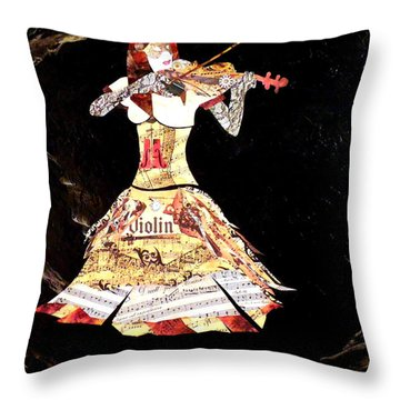 Steampunk Girl Abstract Painting Girl With Violin Fashion Collage Painting Throw Pillow