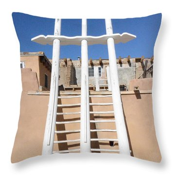 Throw Pillow featuring the photograph Acoma Pueblo Kiva by Debby Pueschel
