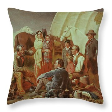 Advice On The Prairie  Throw Pillow by William Tylee Ranney