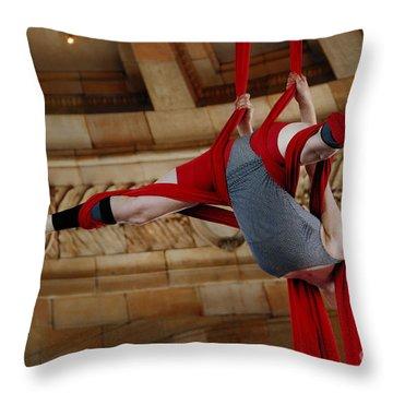 Aerial Ribbon Performer At Pennsylvanian Grand Rotunda Throw Pillow by Amy Cicconi