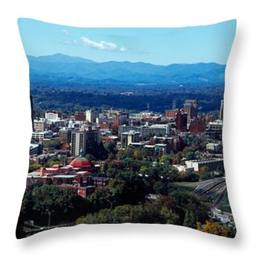 Aerial View Of A City, Asheville Throw Pillow