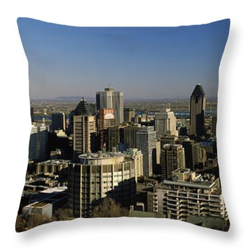 Aerial View Of Skyscrapers In A City Throw Pillow