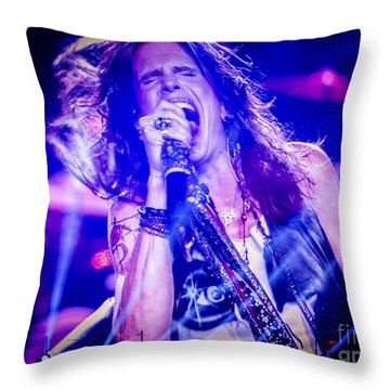 Aerosmith Steven Tyler Singing In Concert Throw Pillow by Jani Bryson
