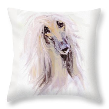 Afghan Hound Throw Pillow by Jane Schnetlage