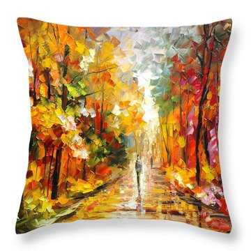 After The Rain Throw Pillow by Leonid Afremov