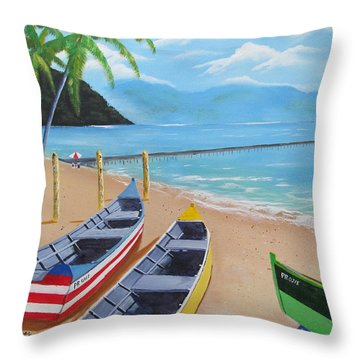 Aguadilla Crashboat Beach Throw Pillow by Luis F Rodriguez