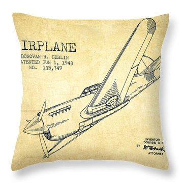 Airplane Patent Drawing From 1943-vintage Throw Pillow