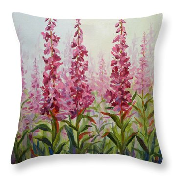 Alaska Fireweed Throw Pillow by Karen Mattson