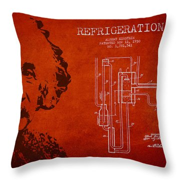 Albert Einstein Patent Drawing From 1930 Throw Pillow by Aged Pixel