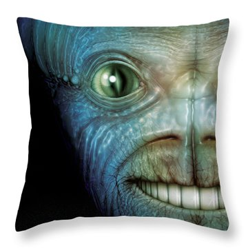 Alien Face Throw Pillow