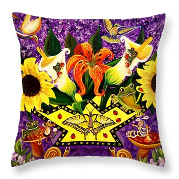 All Gods Creatures Throw Pillow by Adele Moscaritolo