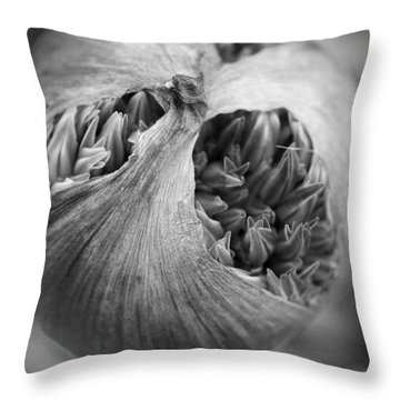 Throw Pillow featuring the photograph Allium Bud by Inge Riis McDonald