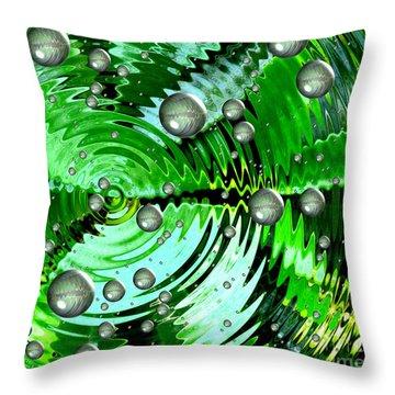 Amazing. Abstract Art. Green Grey  Blue Yellow  Throw Pillow by Oksana Semenchenko