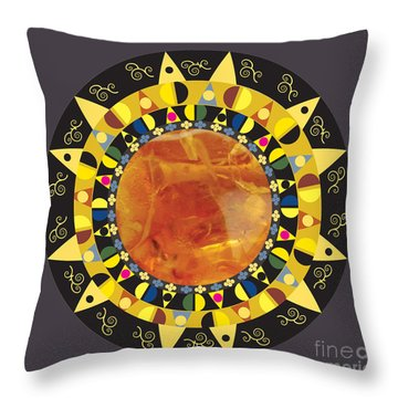 Amber Mandala Throw Pillow by Kim Prowse