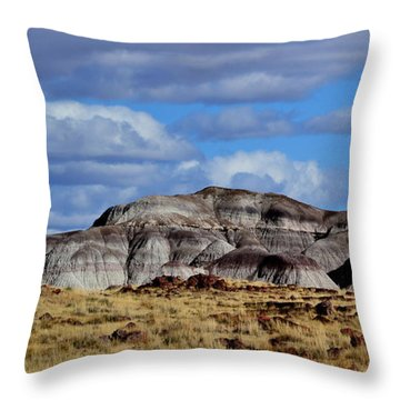 Throw Pillow featuring the photograph Amber Waves Of Grain And Purple Mountains by Nadalyn Larsen