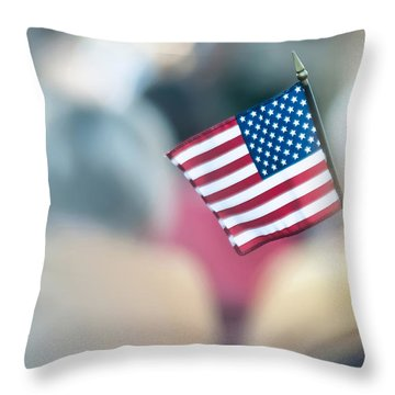 American Flag Throw Pillow by Alex Grichenko