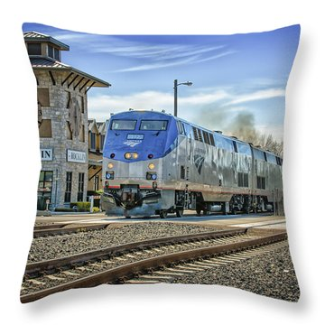 Throw Pillow featuring the photograph Amtrak 112 by Jim Thompson